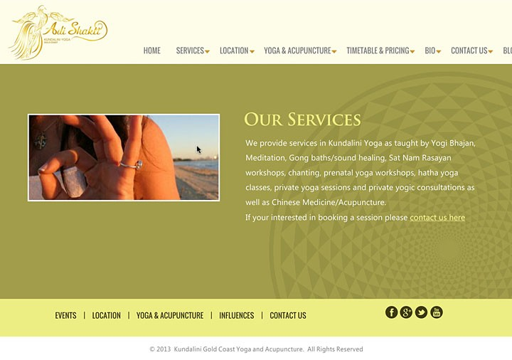 Kundalini Yoga Gold Coast (website layout)