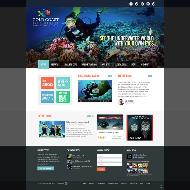 Gold Coast Dive Centre website layout